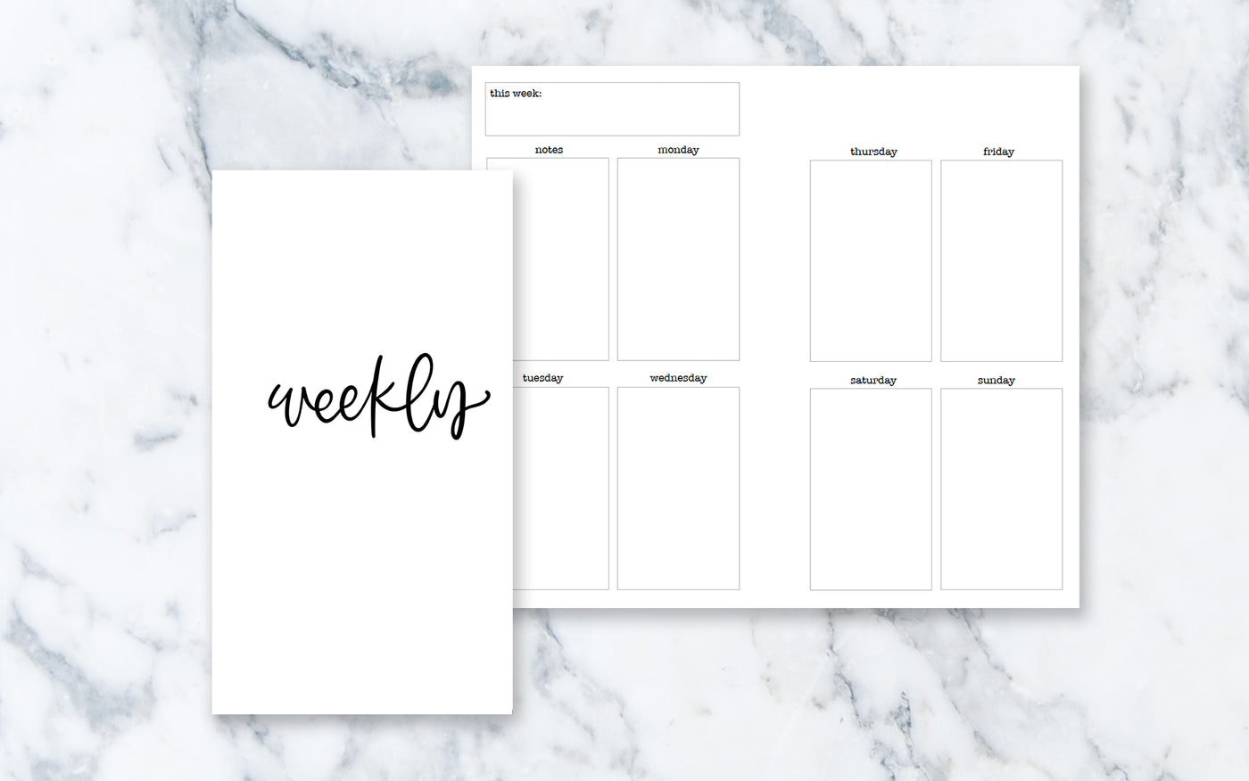 Vertical Week on 2 Pages (Personal rings) - Printable Inserts