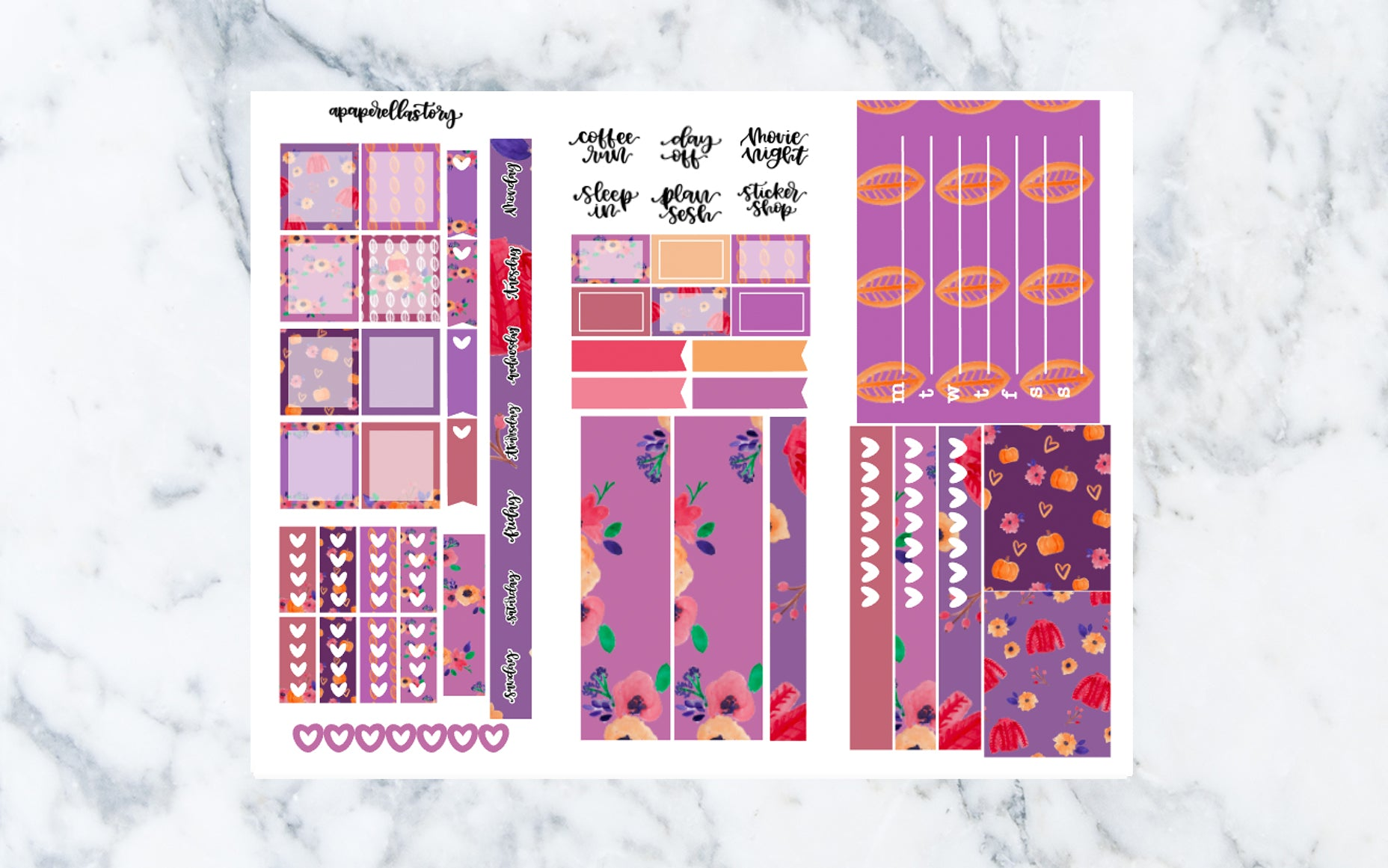 Violet Autumn Hobonichi Weeks Stickers