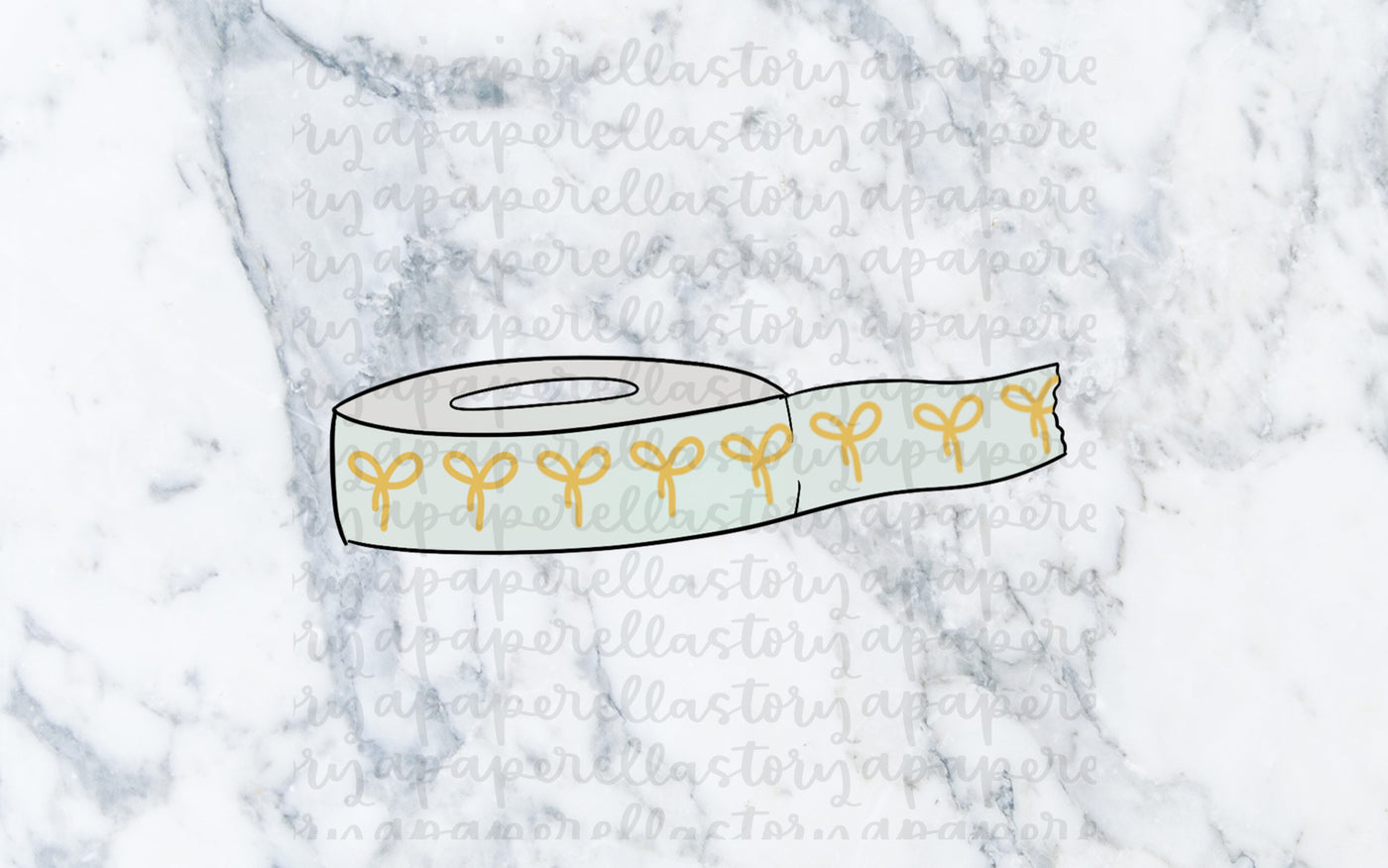Light Mint Washi Roll Doodle - Digital File