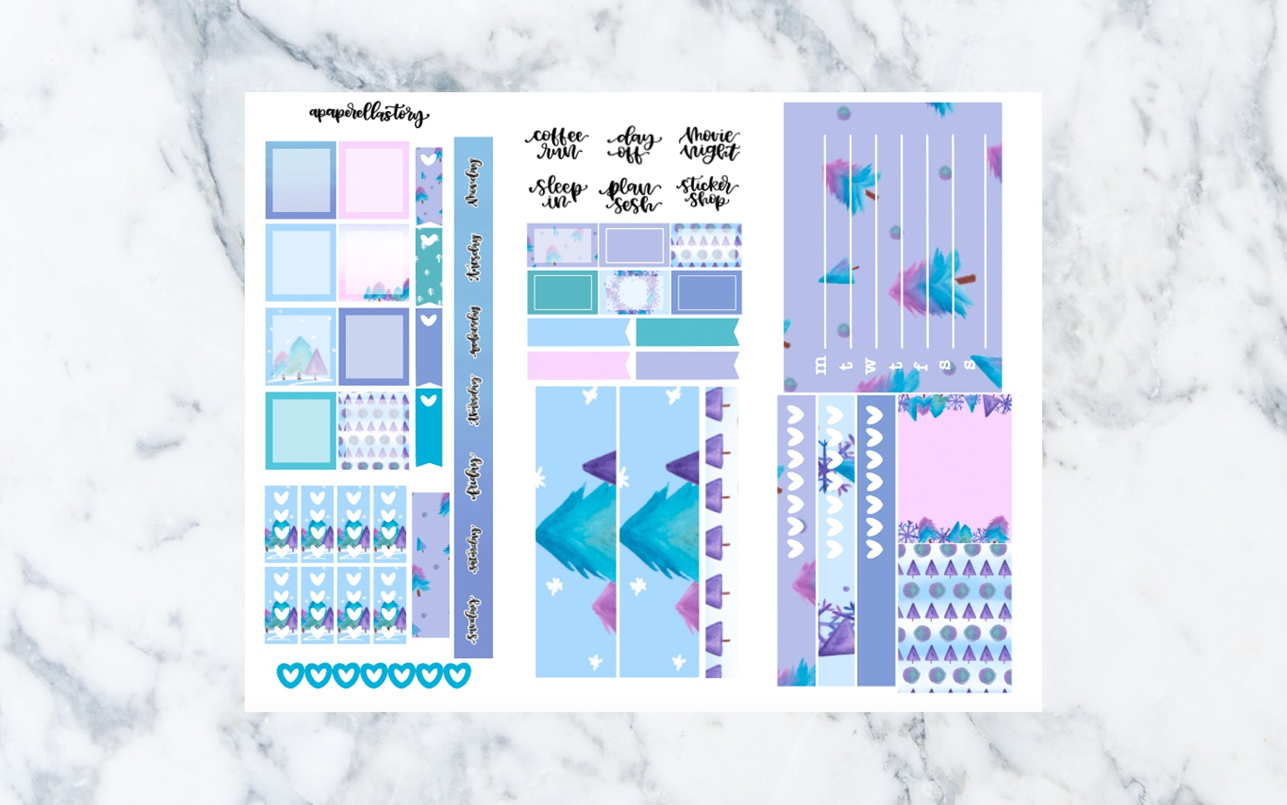 Winter Blues Hobonichi Weeks Stickers