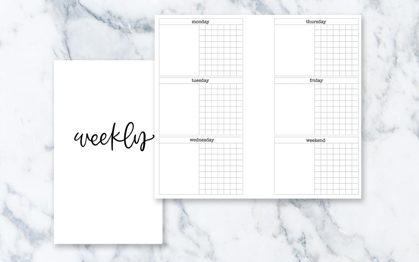 Vertical Week on 4 Pages (Personal rings) - Printable Inserts