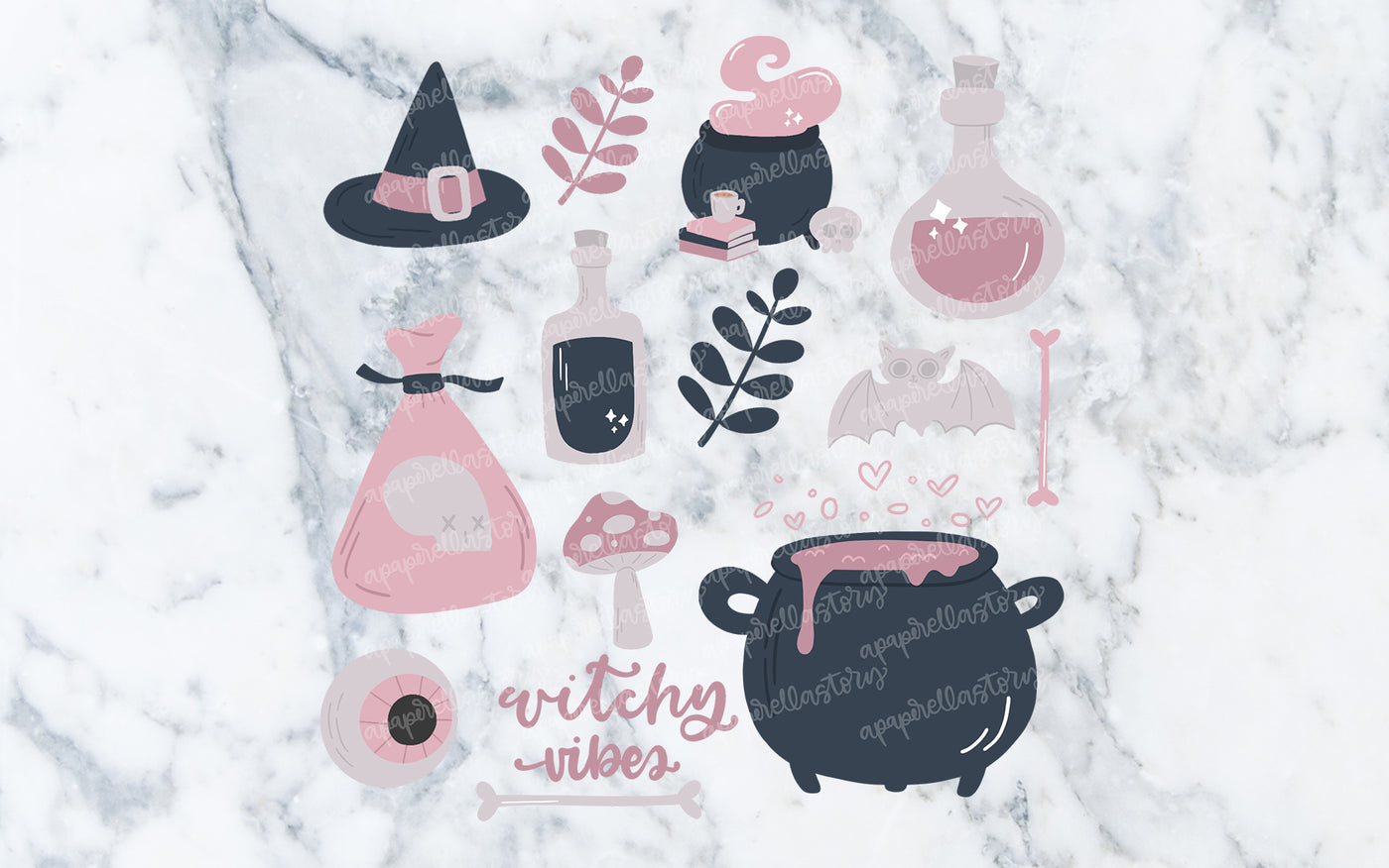Witchy Vibes Clipart Bundle - Digital File