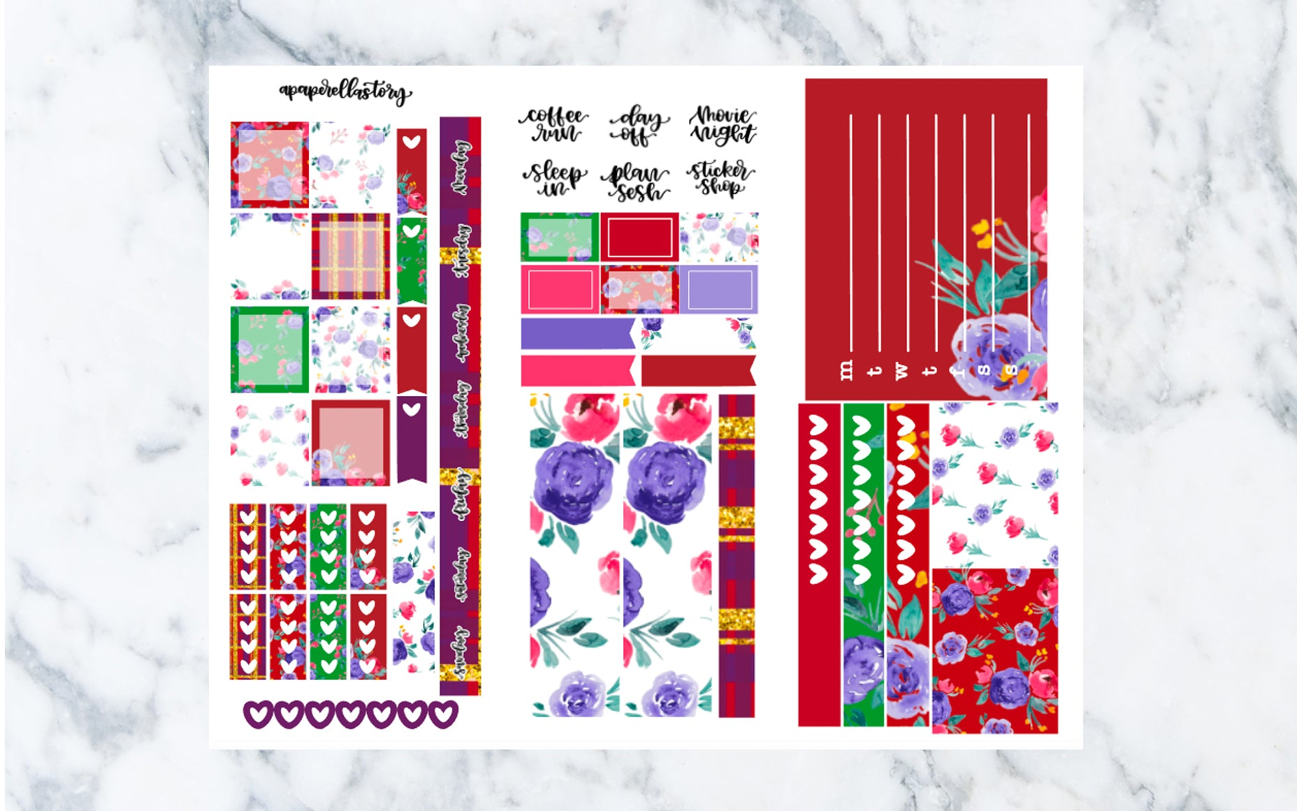Christmas Floral Hobonichi Weeks Stickers