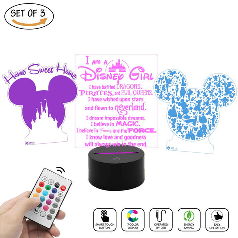 a Gadget sweet lamp set for Disney girl ,Mickey mouse, Home Sweet Home, House rules decoration light, 7 Color mode, Awesome as nightlight