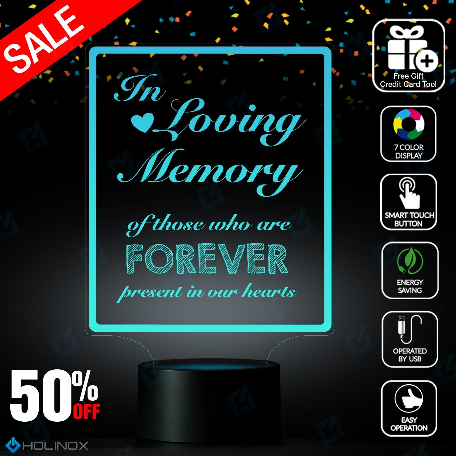 In Loving Memory, LED lamp with USB connector, Calligraphy text ...