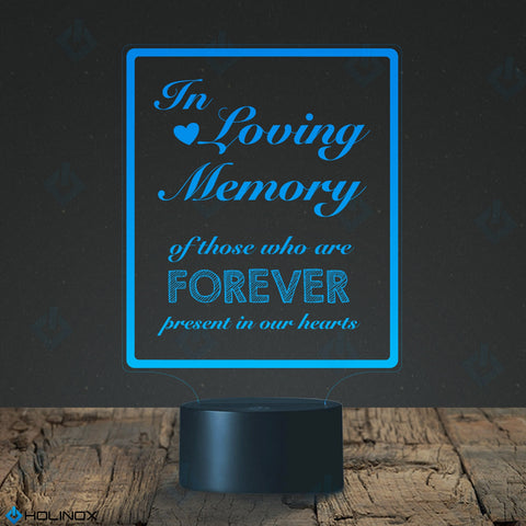 In Loving Memory, LED lamp with USB connector, Calligraphy text decal , Best Christmas Gift, Decoration lamp, 7 Color Mode, Awesome gifts (MT210)
