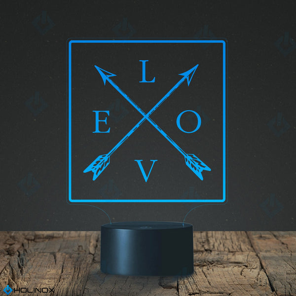 Love and Arrows, Crossed Arrows design lamp, Best Christmas Gift, Decoration lamp, 7 Color Mode, Awesome gifts (MT216)