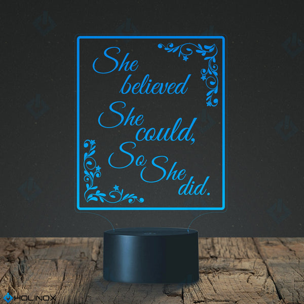 She Believed She Could So She Did, R.S Grey Quote, Scoring Wild quote, Graphic text, Decoration lamp, 7 Color Mode, Awesome gifts (MT218)