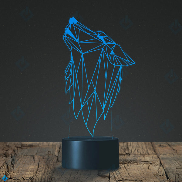 Geometric Howling Wolf Design Lamp, Graphic Design, Best Christmas Gift, Decoration lamp, 7 Color Mode, Awesome gifts (MT234)