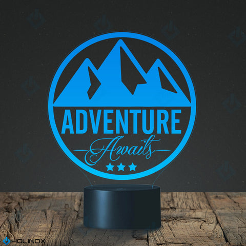 Adventure Awaits Mountain theme Lamp, Mountaineering lamp, Best Christmas Gift, Decoration lamp, 7 Color Mode, Awesome gifts (MT254)