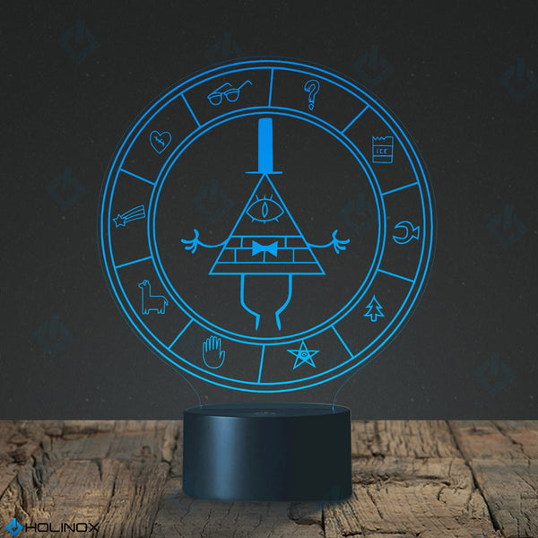 Gravity Falls Bill Cipher Wheel Lighting Decor Gadget Lamp, Awesome Gift  (MT026) By