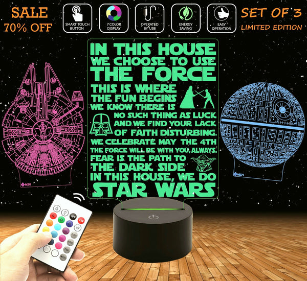 a  STAR WARS SET of 3 -  (1) Death Star (2) Millennium Falcon (3) House Rules + Remote Control
