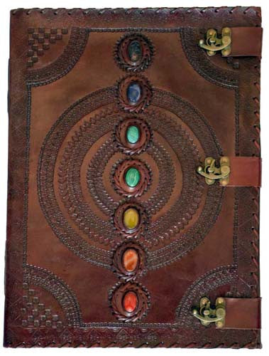 Chakra Stone Blank Leather Journal
