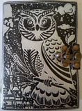 Leather Black and Silver Owl Journal