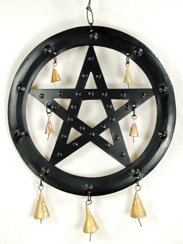 Black Pentacle Wind Chime 9 1/2""