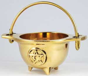 Brass Pentacle Cauldron 3""