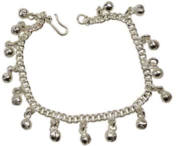 Silvertone Anklet with Bells