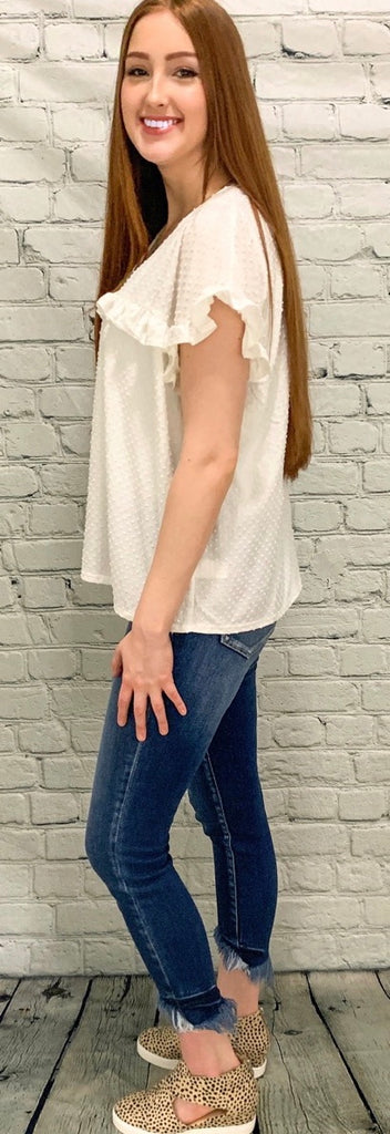 Swiss Dot Cream Blouse (S-2XL)