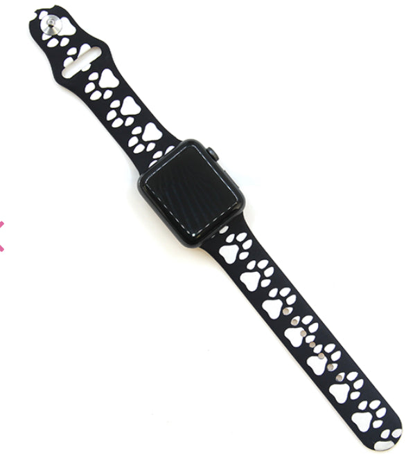 Black Paw Silicone Watch Band 38-40mm (can be personalized with engraving)