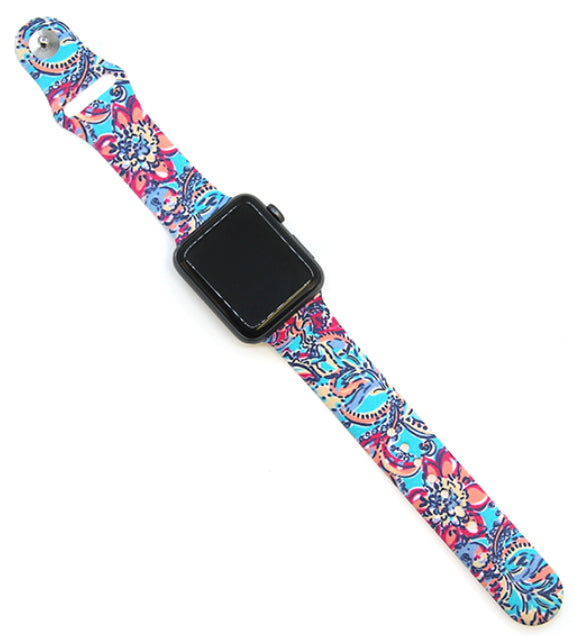 Multi Floral Silicone Watch Band 38-40mm (can be personalized with engraving)