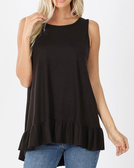 Soft Ruffles Black Tunic (S-3X)