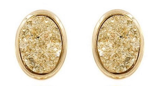Gold Oval Druzy Stud Earrings