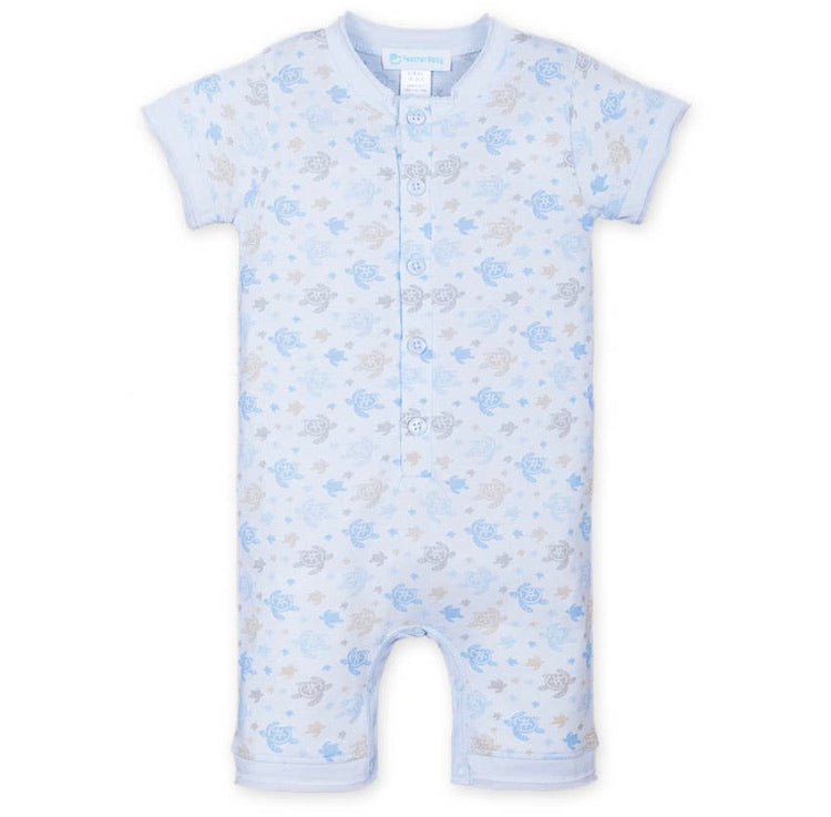 Henley Romper—Sea Turtles on Baby Blue (Feather Baby)