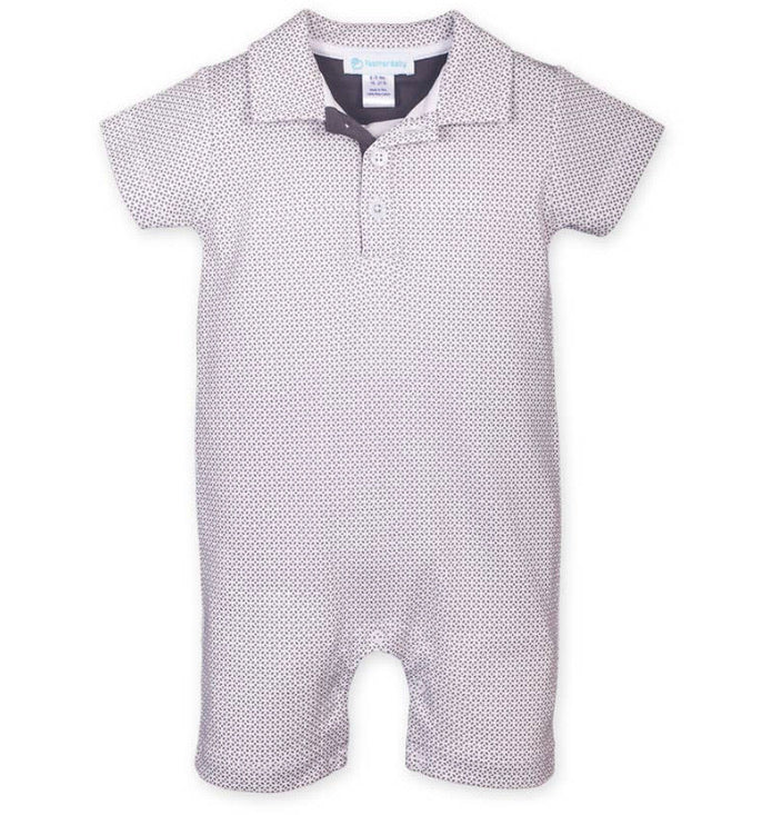 Collared Romper—Tiny Geo (Feather Baby)