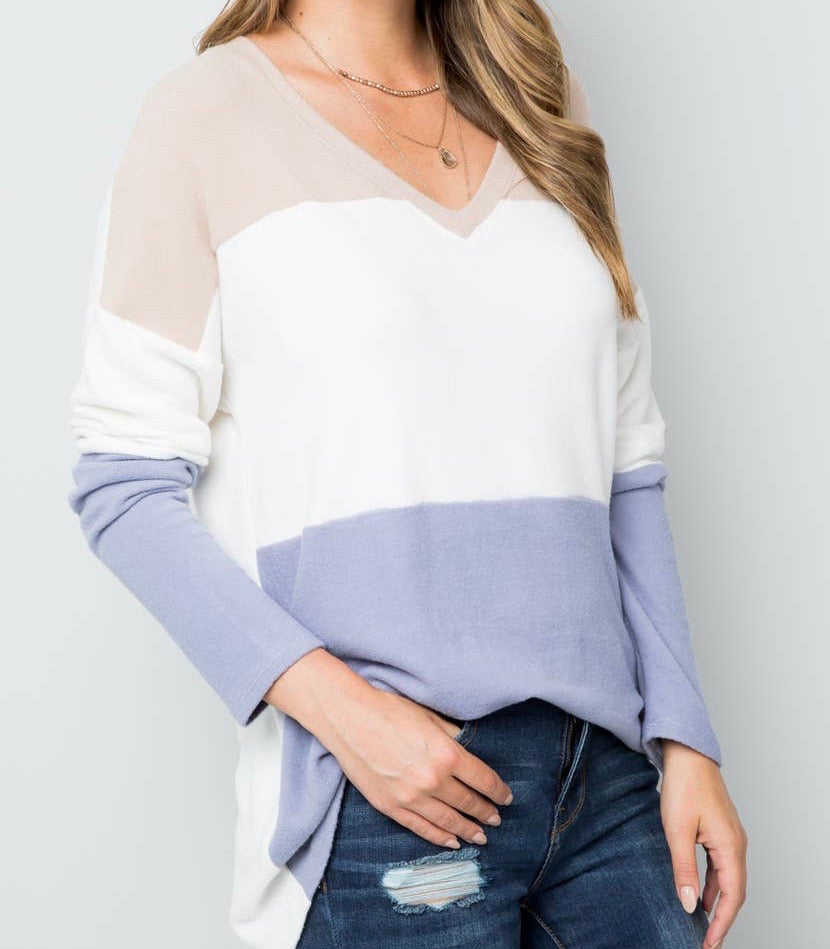 Colorblock Top (S-3X)