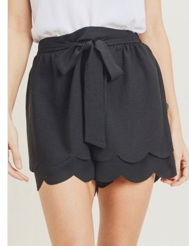 Scalloped Black Shorts