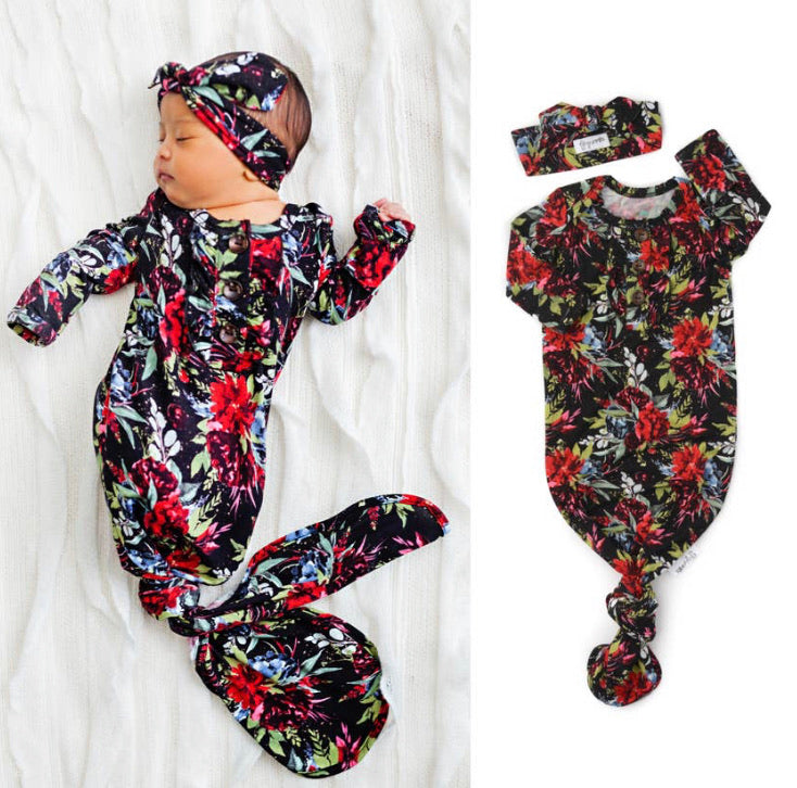 Black & Red Floral knotted button newborn gown and headband (Gigi & Max)