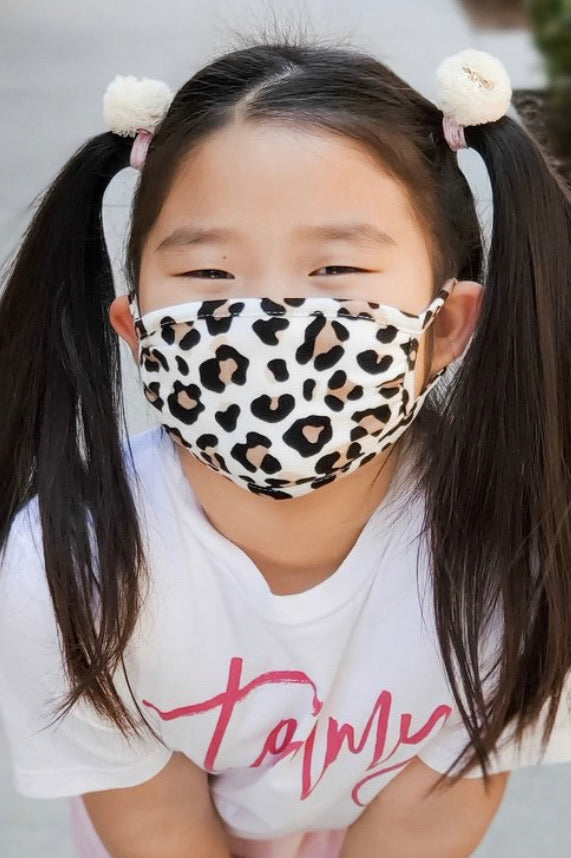 Ivory Leopard Face Mask (kid size)