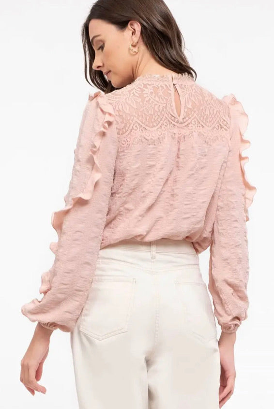 BLUSH TEXTURED WOVEN BLOUSE