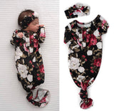 Emma Floral knotted button newborn gown and headband (Gigi & Max)