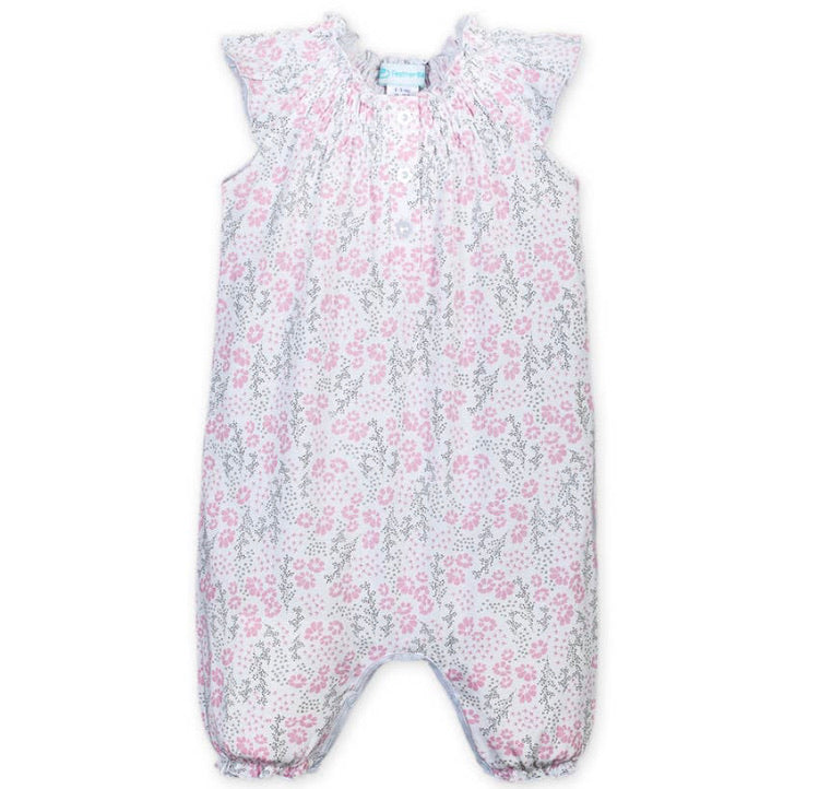 Angel-Sleeve Romper—Allie Floral (Feather Baby)