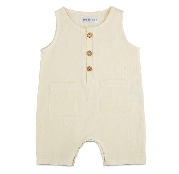 White Sleeveless Crop Linen Baby (Babe Basics)