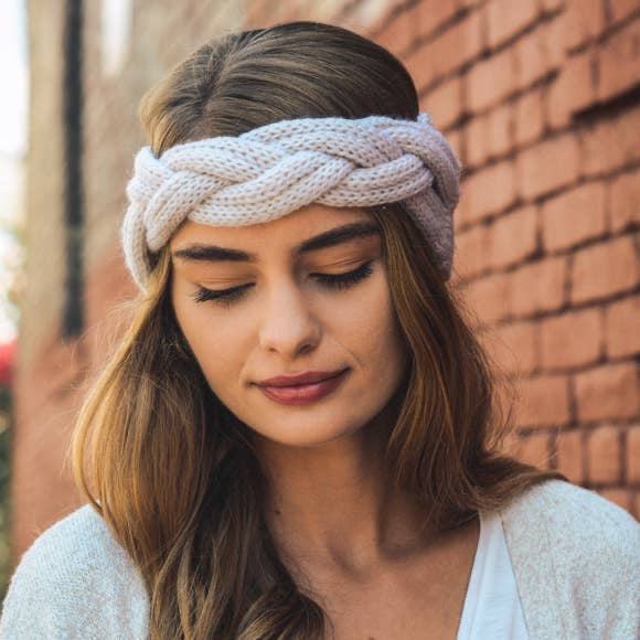 Braid Front Knit Crochet Headband (4 colors)