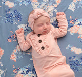 Light Pink Ruffle knotted newborn gown and headband (Gigi & Max)