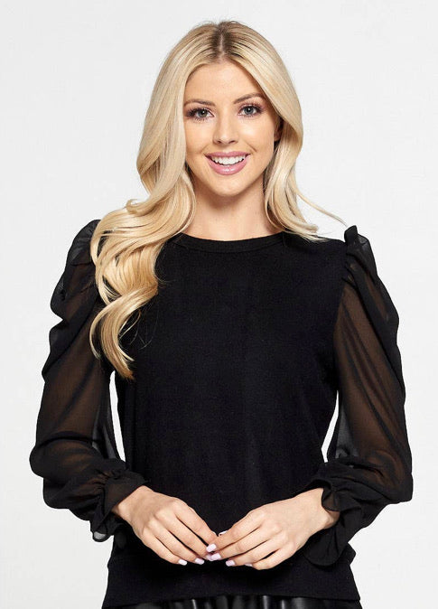 Solid Sheer Puff Sleeve Top with Ruffle Cuff(S-L)