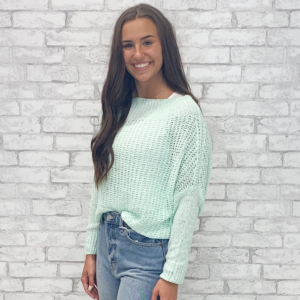 Mint Off the Shoulder Spring Time Sweater (S-L)