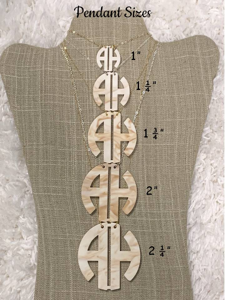 Floating Two Letter Circle Block Monogram Necklace
