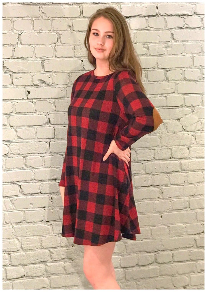 Patch Perfect Buffalo Dress-Red (S-L)