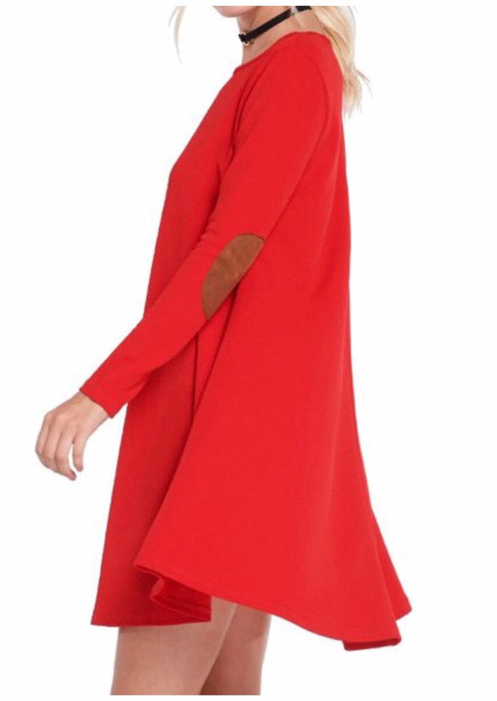 Classy Diva Elbow Patch Dress Red (S-L)