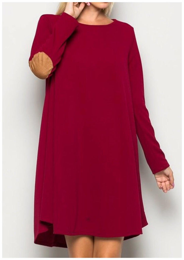 Classy Diva Elbow Patch Dress Burgundy (S-L)
