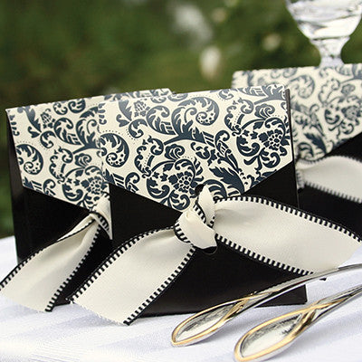 Elegant Black & Ivory Flourish Favor Boxes