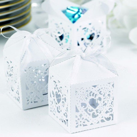 White Decorative Wedding Mini Favor Boxes (Pkg of 25)