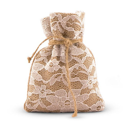 Rustic Chic Burlap And Lace Drawstring Favor Bag (12)