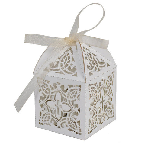 Baptism or Christening First Communion Elegant Decorative Cross White Favor Boxes (Pkg of 25)