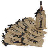 Burlap Table Number Wine Bags 1 - 10