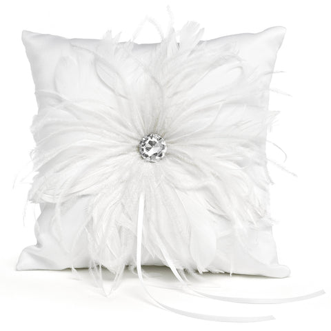 Feathered Flair - Ring Pillow - White